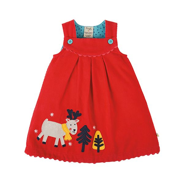 Frugi Lily Cord Reindeer Dress