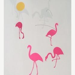 Paper Planes Hanging Mobile Flamingo