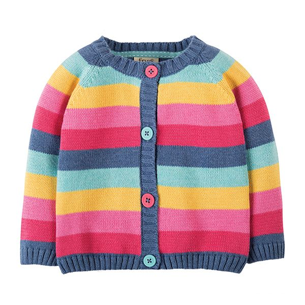 Frugi Happy Day Pink Rainbow Cardi