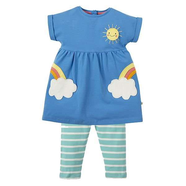 Frugi Olive Dress and Leggings Outfit