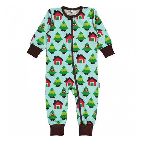 Maxomorra Forest Zip Romper