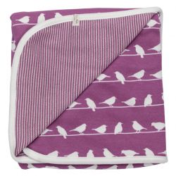 Pigeon Organic Purple Birds Blanket