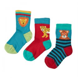 Frugi Big Cat 3 Pack Socks