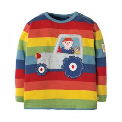 Frugi Rainbow Stripe Tractor Top