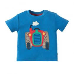 Frugi Little Wheels Blue Tractor Tee