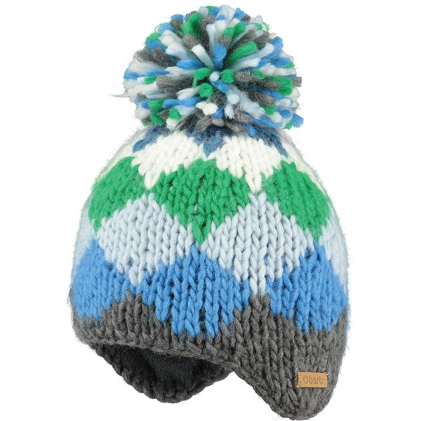 Barts Blue & Green Knit Bobble Hat