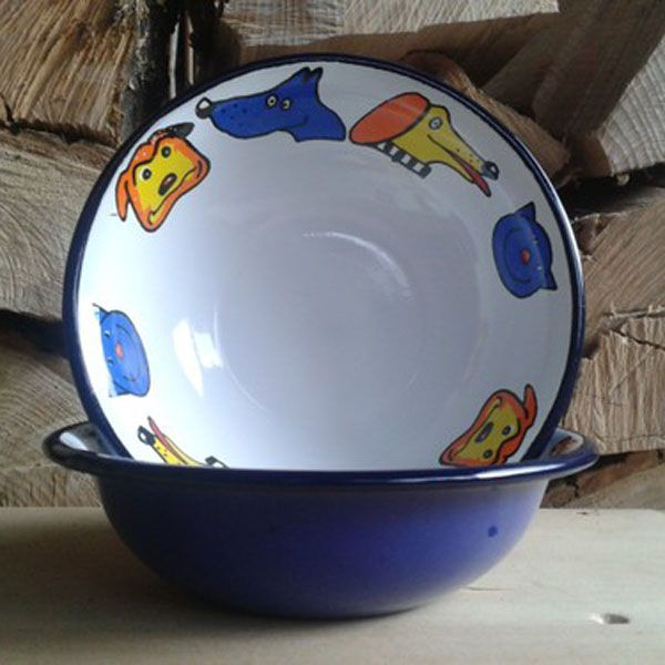Enamel Blue Dog Design Bowl