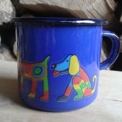 Enamel Blue Dogs Toddler Cup
