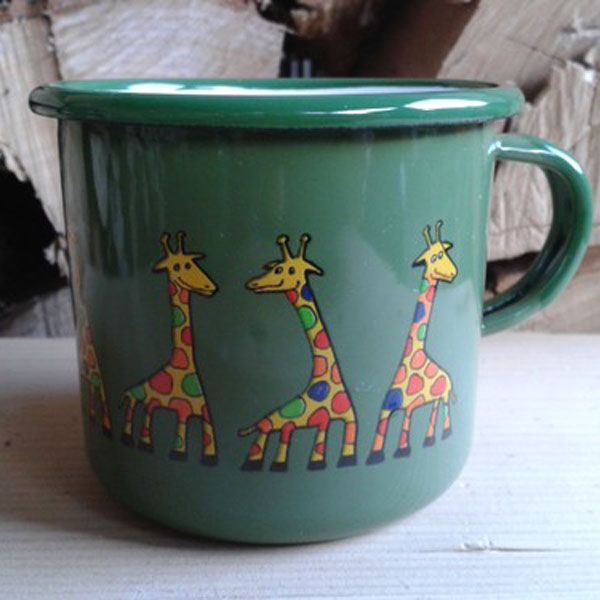 Enamel Green Giraffe Toddler Cup