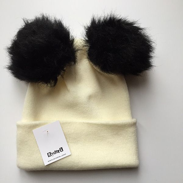 Ryder L White Black Pompom Hat