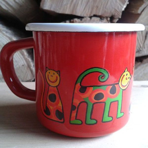 Enamel Red Cats Toddler Cup