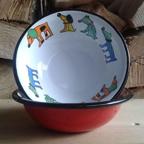 Enamel Red Dog Design Bowl