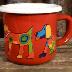 Enamel Red Dogs Weaning Cup