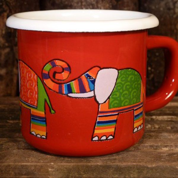 Enamel Red Elephant Weaning Cup