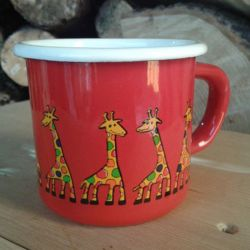 Enamel Red Giraffe Toddler Cup